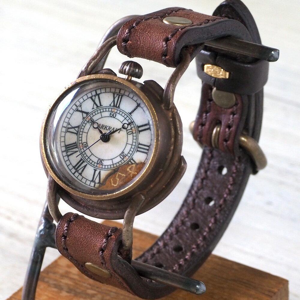 "ARKRAFT(アークラフト)手作り腕時計 ""Curtis Boys"" ローマ数字 プレミアムストラップ [AR-C-004-RO] 時計作家・新木秀和 ハンドメイドウォッチ ハンドメイド腕時計 手作り時計 レディース ボーイズサイズ 本革ベルト アンティーク調 真鍮 クオーツ アナログ 日本製 国産"
