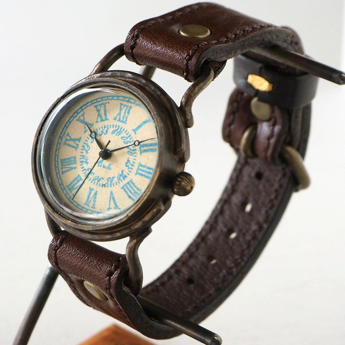 "ARKRAFT(アークラフト)手作り腕時計""Marvin Medium"" ローマ数字 プレミアムストラップ [AR-C-012-RO] 時計作家 新木秀和 ハンドメイドウォッチ ハンドメイド腕時計 手作り時計 本革ベルト 手描き スタンプ 真鍮 クオーツ アナログ 日本製 国産"