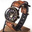 達磨(だるま)手作り腕時計「柿渋」和柄 和時計 猫と桜 螺鈿文字盤 レディース ベージュ [DWL0001-02-BEG] 時計作家…