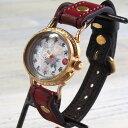 達磨(だるま)ちきりやコラボレーション 手創り腕時計 「牡丹兎」 螺鈿(らでん)文字盤 グラデーション ぼかし染めベ…