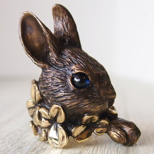 DECOvienya(デコヴィーニャ) 手作りアクセサリー 大きなウサギとクローバーリング ゴールド [DE-093G] ハンドメイドアクセサリー ジュエリー 動物 アニマル フィギュア 指輪 個性的 可愛い う