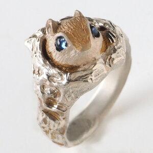 DECOvienya(デコヴィーニャ) 手作りアクセサリー 巣穴のモモンガリング シルバー [DE-124] ハンドメイドアクセサリー 指輪 個性的 可愛い モモンガ リアル レディース メンズ 日本製 国産