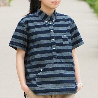 100% of product made in Japan domestic production casual clothes woman cotton made of graphzero (graph zero) travelers pullover shirt short-sleeved horizontal stripe gray X indigo Lady's [GZ-PO-SS-GYBO-LADIES] Kojima, Kurashiki, Okayama jeans denim brand