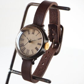 """JOIE INFINIE DESIGN(ジョイ アンフィニィ デザイン)手作り腕時計""""NEUTRAL-boy's -ニュートラル・ボーイズ-""""イタリアンレザーベルト [D-10500] ハンドメイド ウォッチ ハンドメイド腕時計 アンティーク 本革 アナログ ブラック 日本製 国産"""