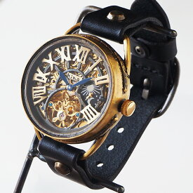 KINO(キノ) 手作り腕時計 自動巻き 裏スケルトン クラウン SUN&MOON [K-11] 時計作家 木野内芳祐 機械式ハンドメイドウォッチ ハンドメイド腕時計 両面スケルトン メンズ レディース イタリア牛革 真鍮 カジュアル 日本製 精密
