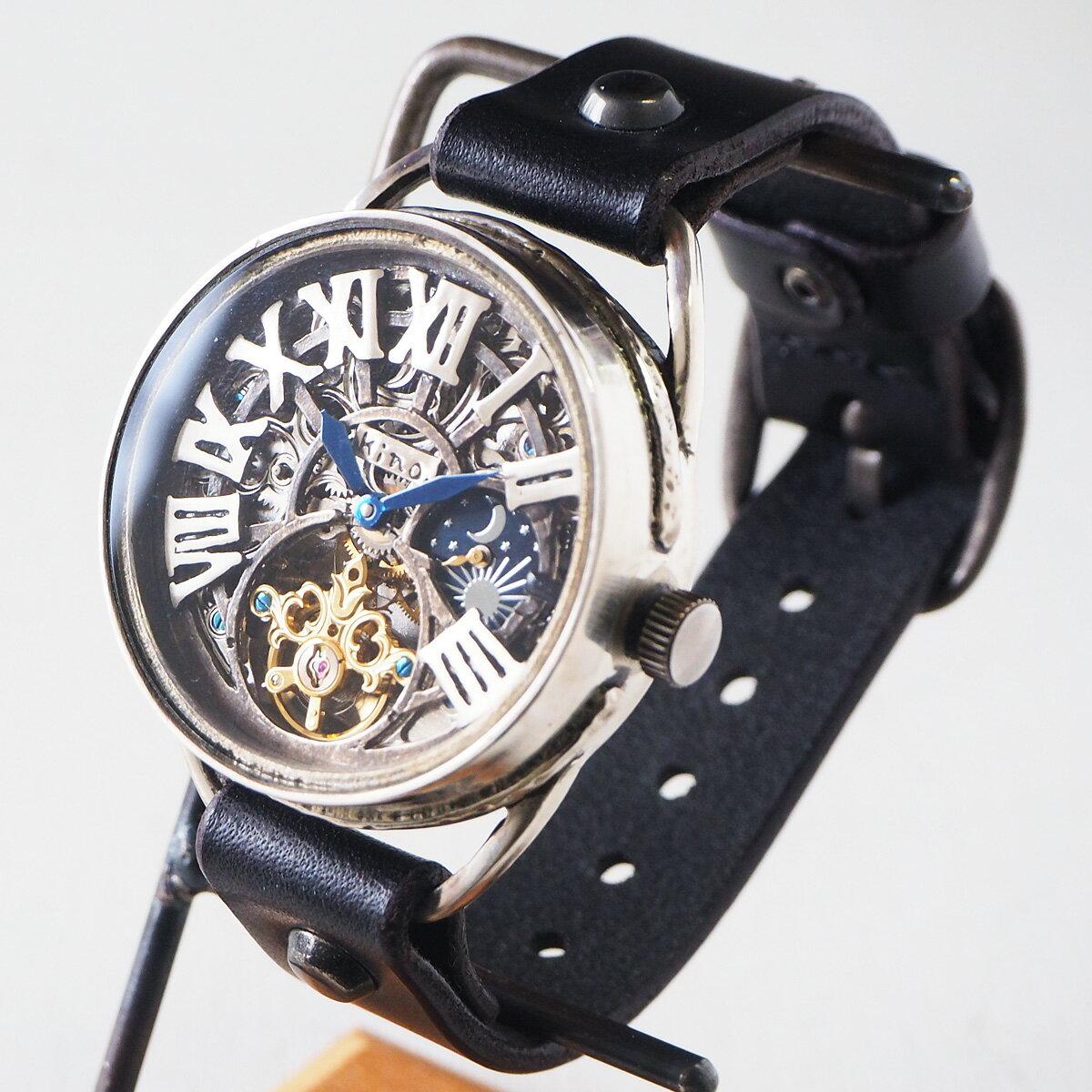 KINO(キノ) 手作り腕時計 自動巻き 裏スケルトン クラウン SUN&MOON シルバー [K-11-SV] 時計作家 木野内芳祐 機械式ハンドメイドウォッチ ハンドメイド腕時計 両面スケルトン メンズ レディース イタリア牛革 シルバー カジュアル 日本製 精密