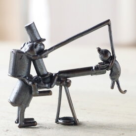 ブロンズ造形作家・コイズミタダシ コビトのオブジェ 「天体観測」 [KO-OB-06] 小泉匡 ハンドメイドオブジェ 小さなオブジェ 手作りフィギュア 置物 レトロ アンティーク 個性的 カップル ユーモア ネコ 猫 ねこ cat 望遠鏡 インテリア小物 日本製 国産