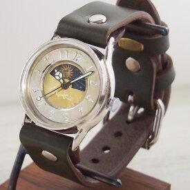 """渡辺工房 手作り腕時計 """"S-WATCH2-S-SUN&MOON"""" メンズシルバー [NW-207SV-SM] 時計作家・渡辺正明さんのハンドメイド ウォッチ ハンドメイド腕時計 手作り時計 メンズ レディース 本革ベルト レトロ アナログ 日本製 刻印・名入れ無料"""