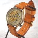 渡辺工房 手作り腕時計自動巻き 裏スケルトン ローマ数字刻印 メンズブラス 手縫いベルト [NW-BAM021] 時計作家・渡辺正明さんの機械式…