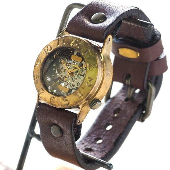 渡辺工房 手作り腕時計 手巻き式 裏スケルトン Explorer2 メンズブラス [NW-BHW014B] 時計作家・渡辺正明 機械式ハンドメイドウォッチ ハンドメイド腕時計 両面スケルトン メンズ レディース 本革ベルト 真鍮 アンティーク調 スチームパンク レトロ 日本製 刻印・名入れ無料