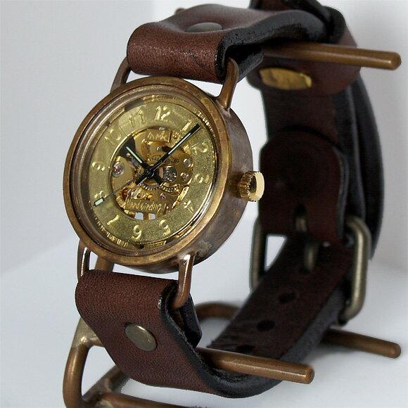 渡辺工房 手作り腕時計 手巻き式 メンズブラス 裏スケルトン [NW-BHW040] 時計作家・渡辺正明さんのハンドメイドウォッチ ハンドメイド腕時計 両面スケルトン メンズ レディース 本革ベルト 真鍮 アンティーク調 スチームパンク レトロ アナログ 日本製 刻印・名入れ無料