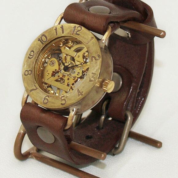 渡辺工房 手作り腕時計 手巻き式 裏スケルトン ジャンボブラス [NW-BHW048] 時計作家・渡辺正明 機械式ハンドメイドウォッチ ハンドメイド腕時計 両面スケルトン メンズ レディース 本革ベルト 真鍮 アンティーク調 スチームパンク レトロ アナログ 日本製 刻印・名入れ無料