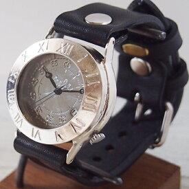 """渡辺工房 手作り腕時計 """"Explorer-JS-DATE"""" デイト付きジャンボシルバー [NW-JUM65SV-DATE] 時計作家・渡辺正明 ハンドメイドウォッチ ハンドメイド腕時計 手作り時計 メンズ レディース 本革ベルト レトロ 日付カレンダー 日本製 刻印・名入れ無料"""