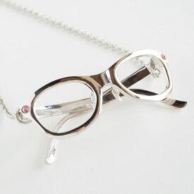 small right(スモールライト) メガネ ウェリントンフレーム ネックレス 真鍮 ロジウムメッキ [SR-NL-09] アクセサリー作家・磯俊宏さんの手作りミニチュアアクセサリー・ハンドメイドジュエリー 動くネックレス ペンダント めがね 眼鏡 メンズ レディース 日本製 国産