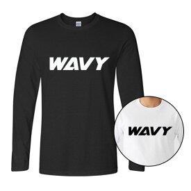 WAVY メンズ ウェア ロンT スリム リブ ロング スリーブ ロゴ Tシャツ 長袖 シンプル カジュアル ストリート 海 サーフィン サーフ ボード ルームウェア 部屋着 クルーネック ギフト 彼氏 父 息子 記念日 プレゼント メンズ おしゃれ