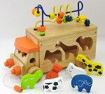 【名入れ無料】木のおもちゃ車型はめ|アニマルビーズバス|知育玩具3歳パズル出産祝いエドインター