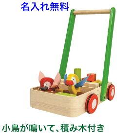 名前入り 積み木付き 小鳥が音を出す PLANTOYS「バードウォーカー」手押し車 赤ちゃん 木製 木のおもちゃ 名入れ 1歳 1歳半 2歳 カタカタ つかまり立ち プラントイ 出産祝い 男の子 女の子 子供 ベビー
