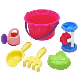 砂遊び6点セット 「ワイドバケツセット(ピンク)」 お砂場セット 赤ちゃん お風呂 おもちゃ 水遊び