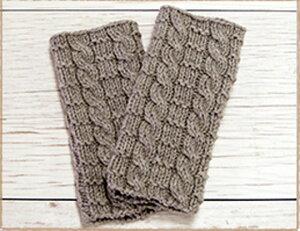 【着分パック】ハマナカ 毛糸 アメリー 交差模様のハンドウォーマー 22番色 グレー 編み図★ AMU-302
