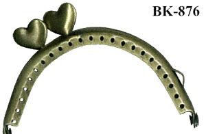 小物口金 扇型 ハート型横ひねり 5.5cm×8.5cm×1cm 1本(型紙付) INAZUMA イナズマ 持ち手 持ち 手[BK-876]