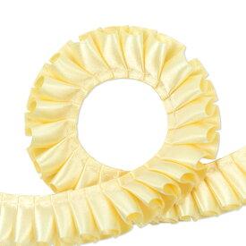 両面サテン ダブルサテン プリーツリボン 2.5cm幅 バターミルク 1m