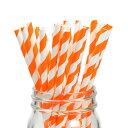 ペーパーストロー 紙ストロー [オレンジ ストライプ] 25本入 / Paper Straws Orange Stripe 25pcs