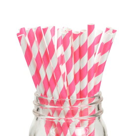 ペーパーストロー 紙ストロー [ストロベリー ストライプ] 25本入 / Paper Straws Strawberry Stripe 25pcs