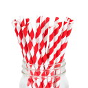 ペーパーストロー 紙ストロー [レッド ストライプ] 25本入 / Paper Straws Red Stripe 25pcs