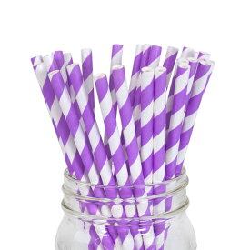 ペーパーストロー 紙ストロー [ラベンダー ストライプ] 25本入 / Paper Straws Lavender Stripe 25pcs