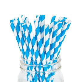 ペーパーストロー 紙ストロー [ブルー ストライプ] 25本入 / Paper Straws Blue Stripe 25pcs