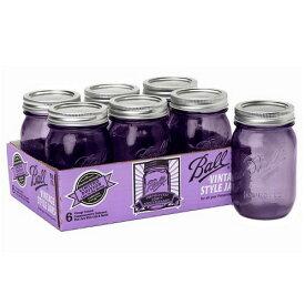 [SUPER PRICE] ボールメイソンジャー レギュラーマウス ヘリテージコレクション パープル 480ml 6個入 / Ball Mason Jar Heritage Collection Purple Regular Mouth 16oz 6pc