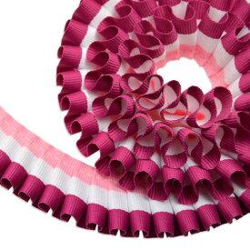 """グログラン [プリーツ] リボン 2.5cm幅 ストライプ( ローズピンク × スノー × プラム ) 1m / Grosgrain [Pleated] Ribbon Width 1"""" Grosgrain Ribbon Width 1"""" Stripe( Rose Pink × Snow × Plum ) 1m"""