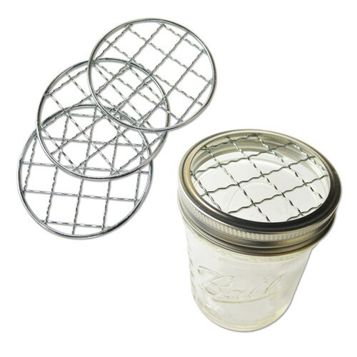 Loew-Cornell 網フタ Ball メイソンジャーワイドマウス用 4個入 Mason Jar Frog Lid Inserts for Wide Mouth 4pcs