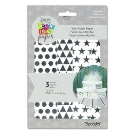 [SUPER PRICE] Decoart デコパージュペーパー 約40.6cm×30.5cm 3デザイン各1枚入 [シルバー ベーシック] / Decoupage Paper 12x16inch 3 Sheets [Silver Basics]