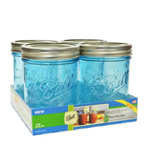 ボールメイソンジャー ワイドマウス コレクションエリート ブルー 480ml 4個入 / Ball Mason Jar Collection Elite Blue Wide Mouth 16oz 4pc
