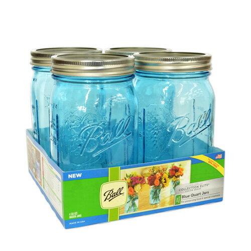 ボールメイソンジャー正規品 ワイドマウス 940ml ブルー 4個入 / Ball Mason Jar Wide Mouth Blue 32oz 4pc Set