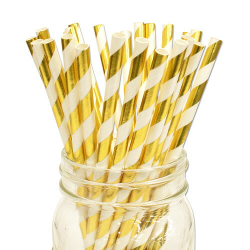 [SUPER PRICE] ペーパーストロー 紙ストロー ゴールドメタリック ストライプ 25本入 Gold Metallic Stripe 25pcs