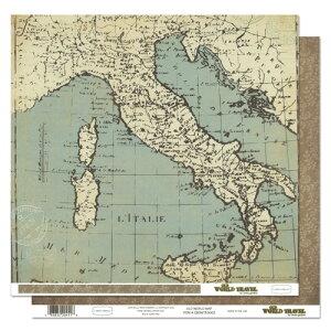 """デザインペーパー 両面プリント Carta Bella Old World Travel Paper 12""""x12"""" Old World Map 1枚入"""