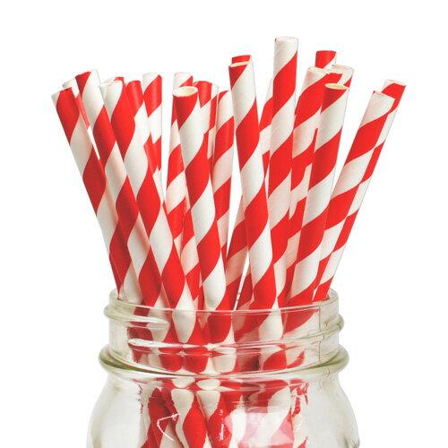 [SUPER PRICE] ペーパーストロー 紙ストロー レッド ストライプ 25本入 Paper Straws Stripe Red 25pcs