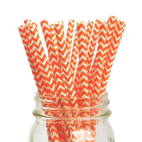 [SUPER PRICE] ペーパーストロー 紙ストロー オレンジ シェブロン 25本入 Paper Straws Chevron Orange 25pcs