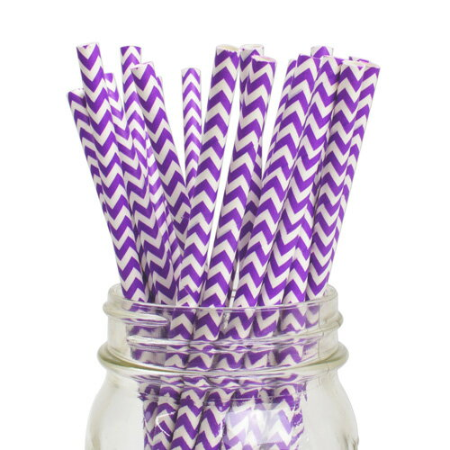 [SUPER PRICE] ペーパーストロー 紙ストロー グレープ シェブロン 25本入 Paper Straws Chevron Grape 25pcs