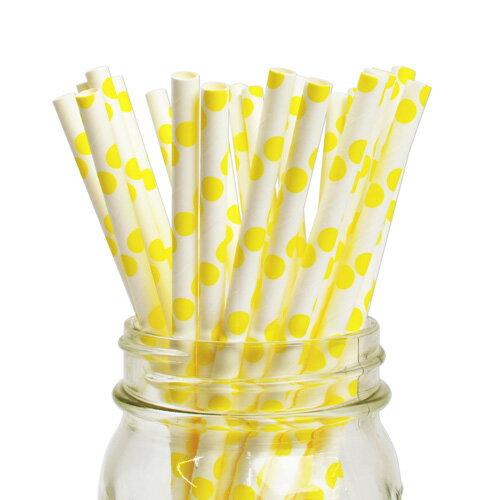 [SUPER PRICE] ペーパーストロー 紙ストロー イエロー ドット 25本入 Paper Straws Polka Yellow 25pcs