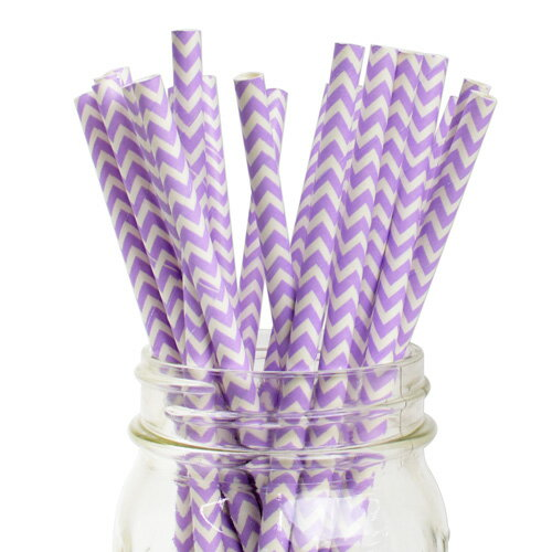 [SUPER PRICE] ペーパーストロー 紙ストロー ラベンダー シェブロン 25本入 Paper Straws Chevron Lavender 25pcs