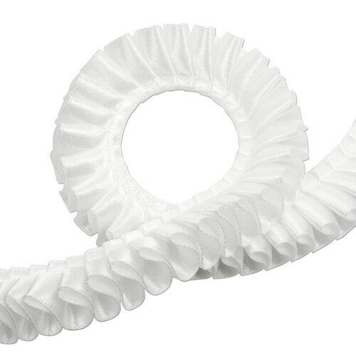 片面サテン シングルサテン [プリーツ] リボン 2.5cm幅 スノー 3m