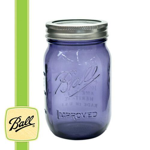 ボールメイソンジャー正規品 レギュラーマウス 480ml パープル / Ball Mason Jar Heritage Collection Purple 16oz