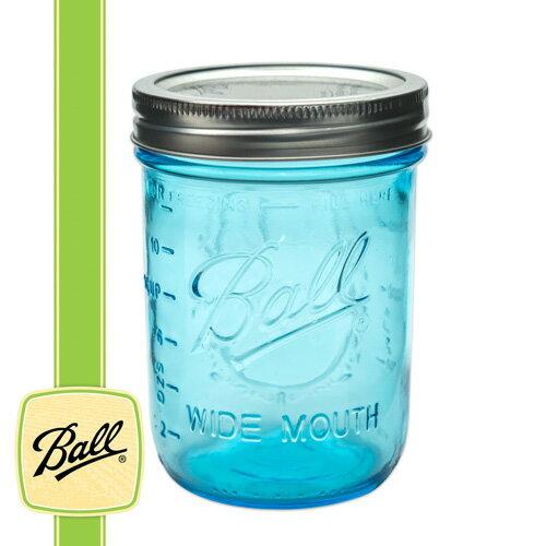 ボールメイソンジャー正規品 ワイドマウス 480ml ブルー / Ball Mason Jar Wide Mouth Blue 16oz