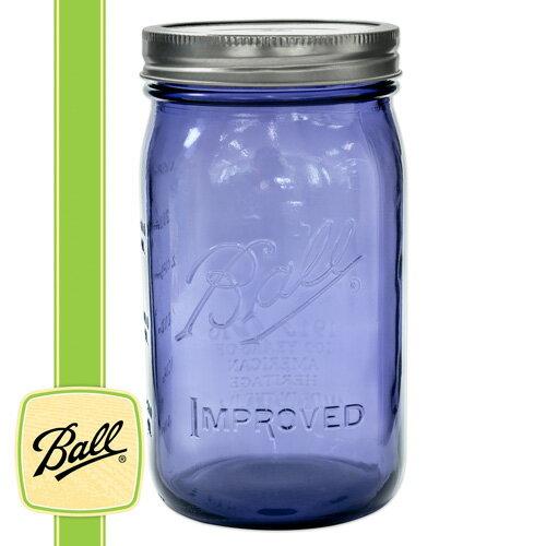 ボールメイソンジャー正規品 ワイドマウス 940ml パープル / Ball Mason Jar 32oz Heritage Collection Purple