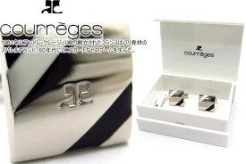 courreges クレージュ OBLIQUE LINE BLACK WHITE CUFFLINKS オブリークラインカフス(ブラック&ホワイト) 【送料無料】【カフスボタン カフリンクス】【ブランド】