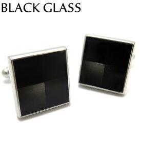 VALUE3500 BLACK GLASS CUFFLINKS ブラックグラスカフス【カフスボタン カフリンクス】
