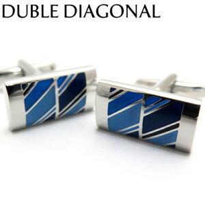 VALUE3500 DOUBLE DIAGONAL BLUE CUFFLINKS ダブルディアゴナルカフス(ブルー) 【カフスボタン カフリンクス】